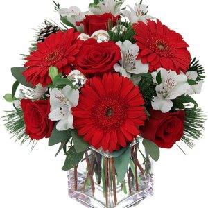 composizione con rose rosse fresie bianche e gerbere rosse