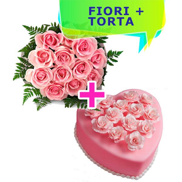12 rose rosa con torta rosa a forma di cuore e boccioli rosa al marzapane