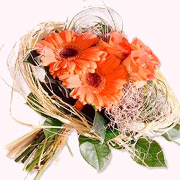 consegna a domicilio bouquet con gerbere color pesca e rose online