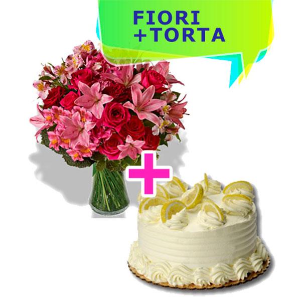 Consegna a domicilio composizione di lilium e rose con torta al limone e panna online