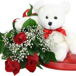 orsacchiotto bianco cioccolatini e rose rosse