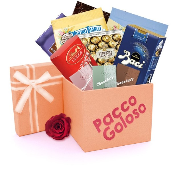 Consegna a domicilio Pacco Goloso con cioccolata dolcetti e biscotti online