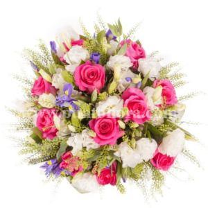 Bouquet con rose rosa, lisianthus bianchi e iris blu
