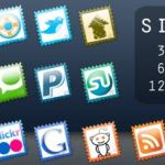Iconos Sociales en forma de estampillas