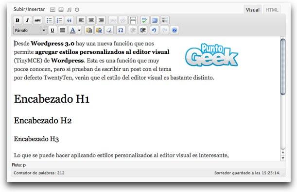 Añadir un CSS personalizado al editor visual de Wordpress