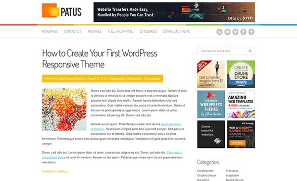 Patus, un tema para Wordpress limpio, responsive y gratuito
