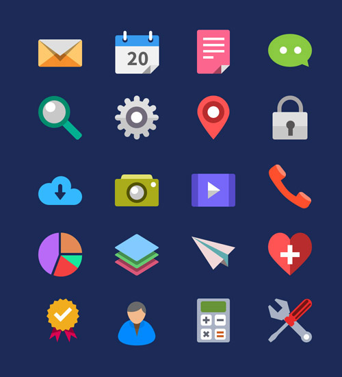 20-Flat-Icons-Vector-PSD