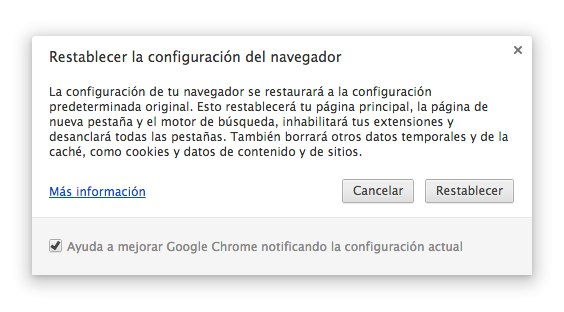 restablecer chrome
