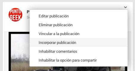 insertar publicacion google+