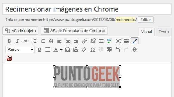 redimensionar imagenes chrome wordpress