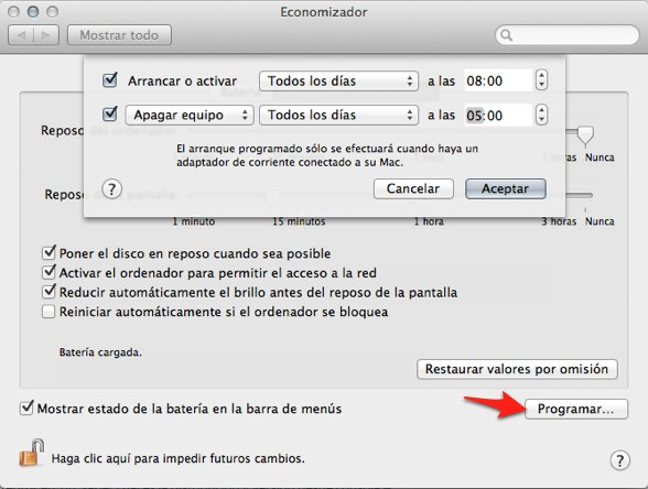 programar apagado mac