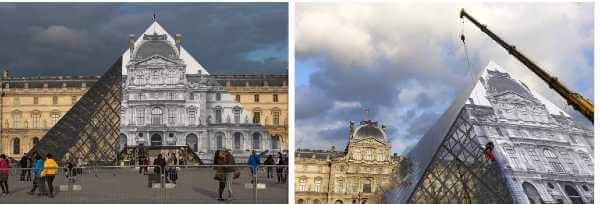 CuriosArte: Come far sparire la Piramide del Louvre o... sprofondarla in un abisso