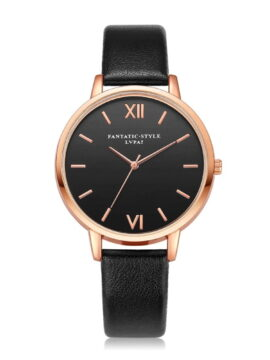 Black Leather Rose Gold Women WristWatches