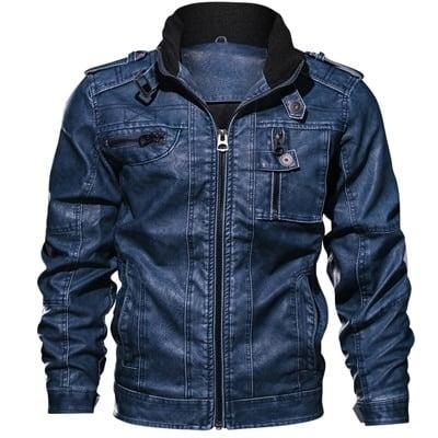 Men Winter Biker Leather Jacket 3