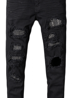 Royles Men's skinny black ripped jeans