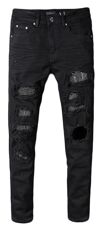 Royles Men's skinny black ripped jeans