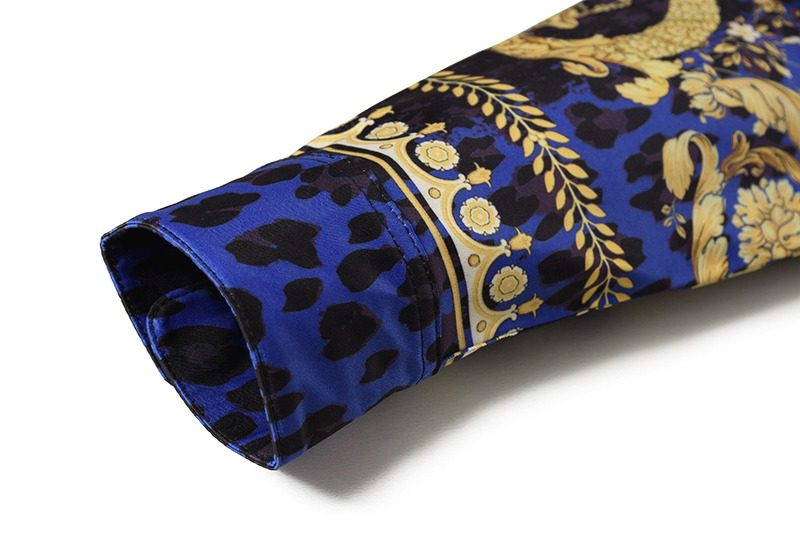 Royles! Men's Leopard styled Floral Long Sleeve Shirt 5