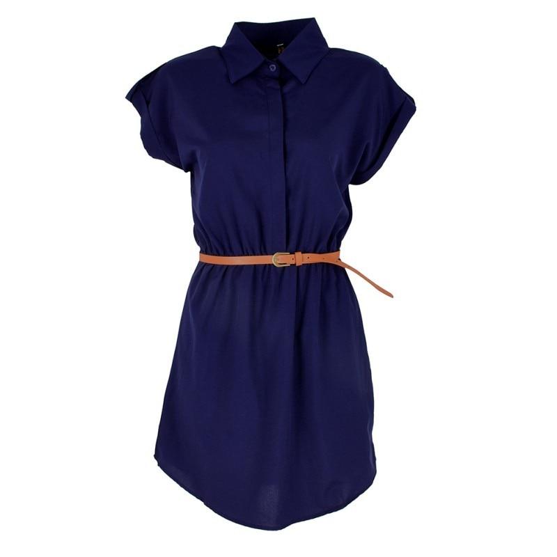 Plain Summer Mini Dress With Belt 6