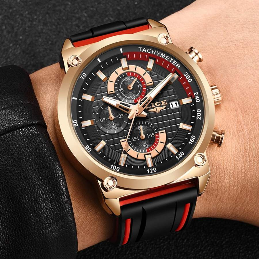 LIGE Silicone Waterproof Quartz Gold Men Watch 9