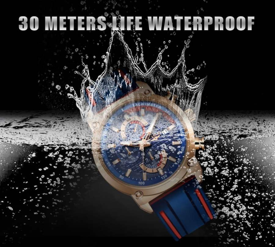 LIGE Silicone Waterproof Quartz Gold Men Watch 7