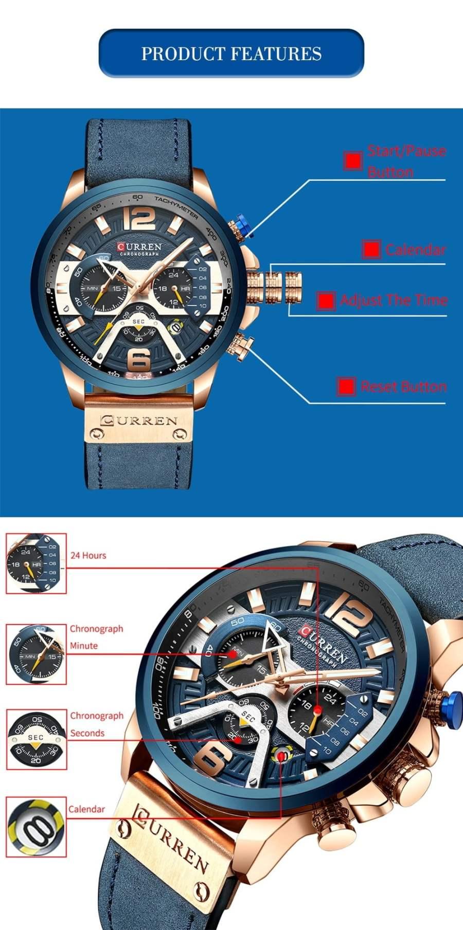 CURREN Blue Chronograph Men Watches 4