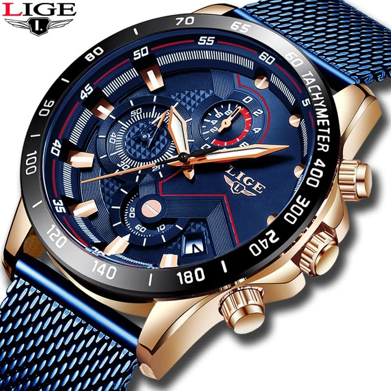 Lige Quartz Gold Watch Mens Watches  4