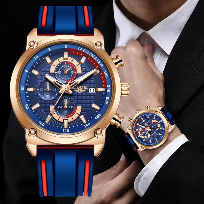 LIGE Silicone Waterproof Quartz Gold Men Watch  1