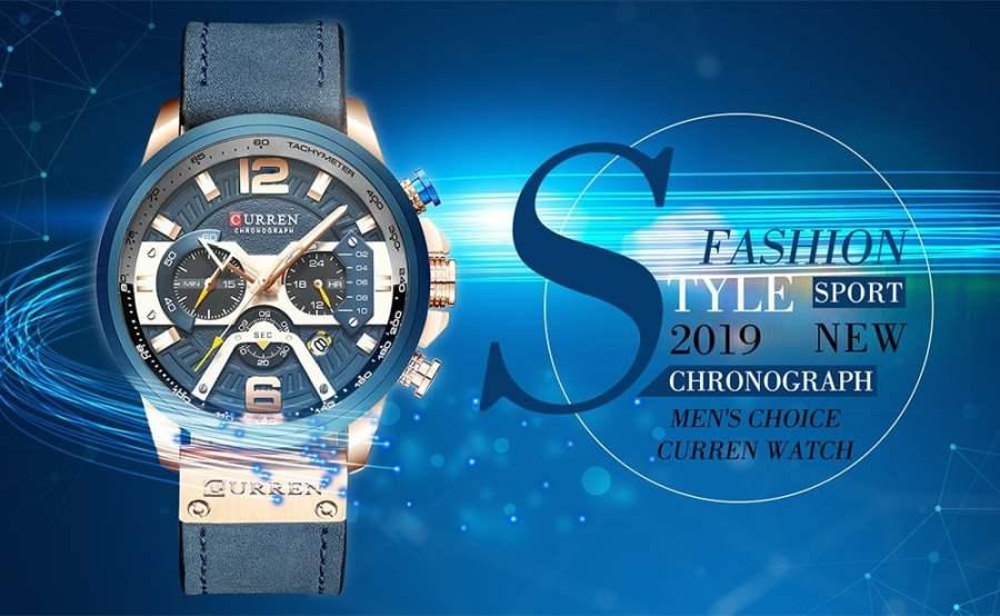 CURREN Blue Chronograph Men Watches 1