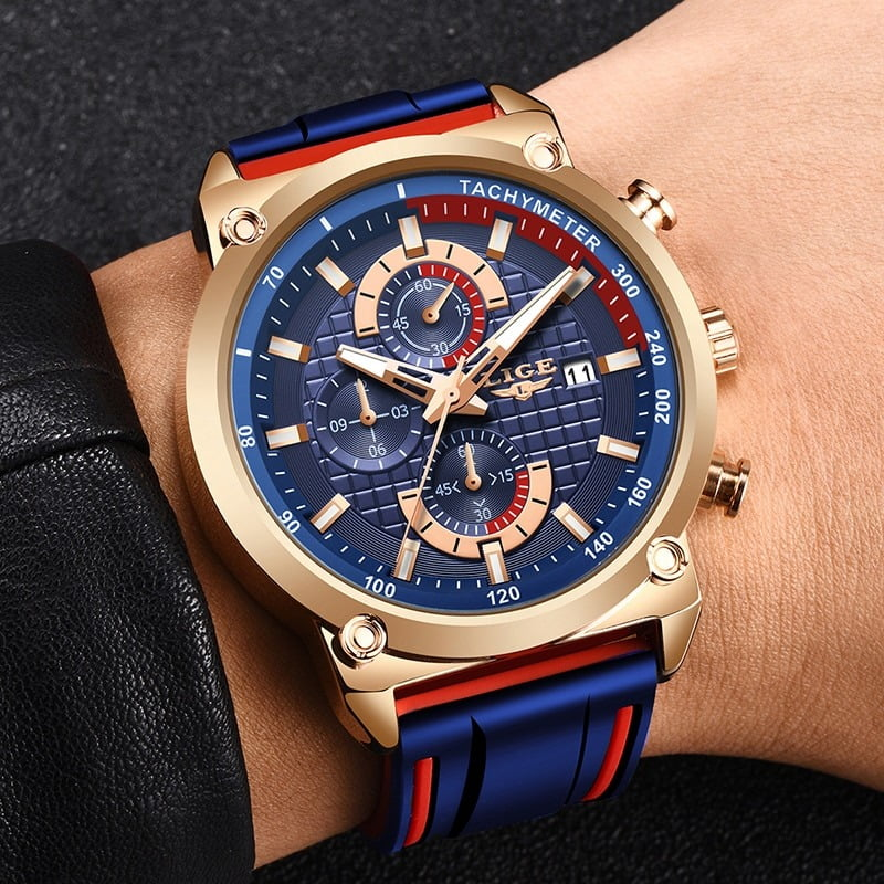 LIGE Silicone Waterproof Quartz Gold Men Watch  4
