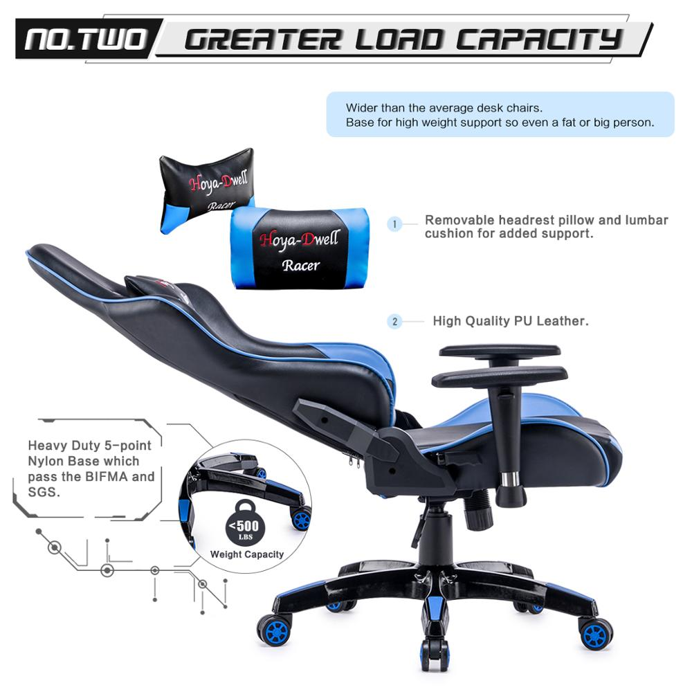 High Back Racing themed Reclining Ergonomic Adjustable Chair with Headrest 4