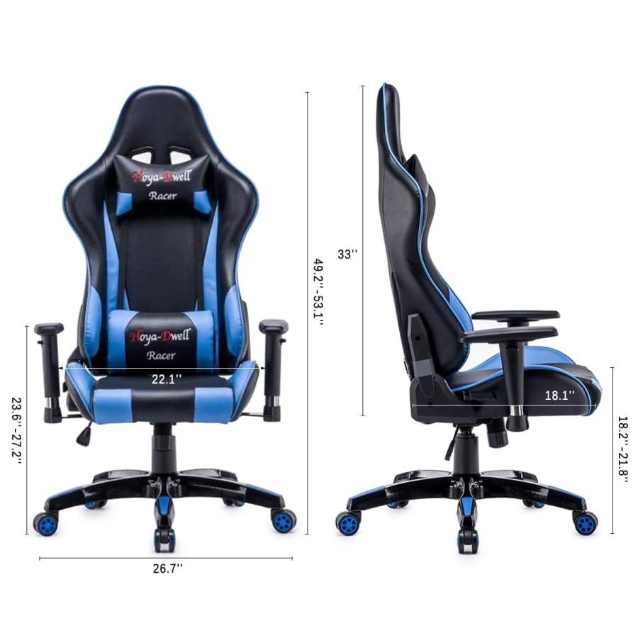 High Back Racing themed Reclining Ergonomic Adjustable Chair with Headrest 25