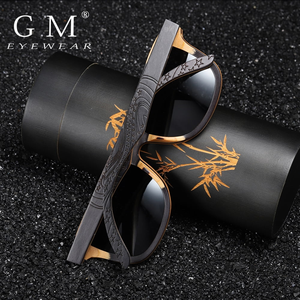 GM Luxury Skateboard Wood Sunglasses Vintage Black Frame Wooden Sunglasses Women Polarized Men's Bamboo Wood Sunglasses S5832 1
