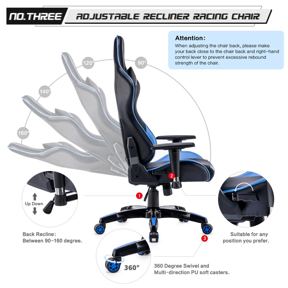 High Back Racing themed Reclining Ergonomic Adjustable Chair with Headrest 2