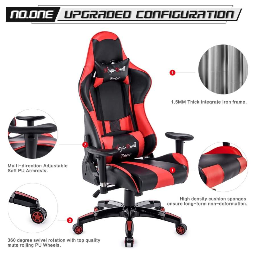 High Back Racing themed Reclining Ergonomic Adjustable Chair with Headrest 44