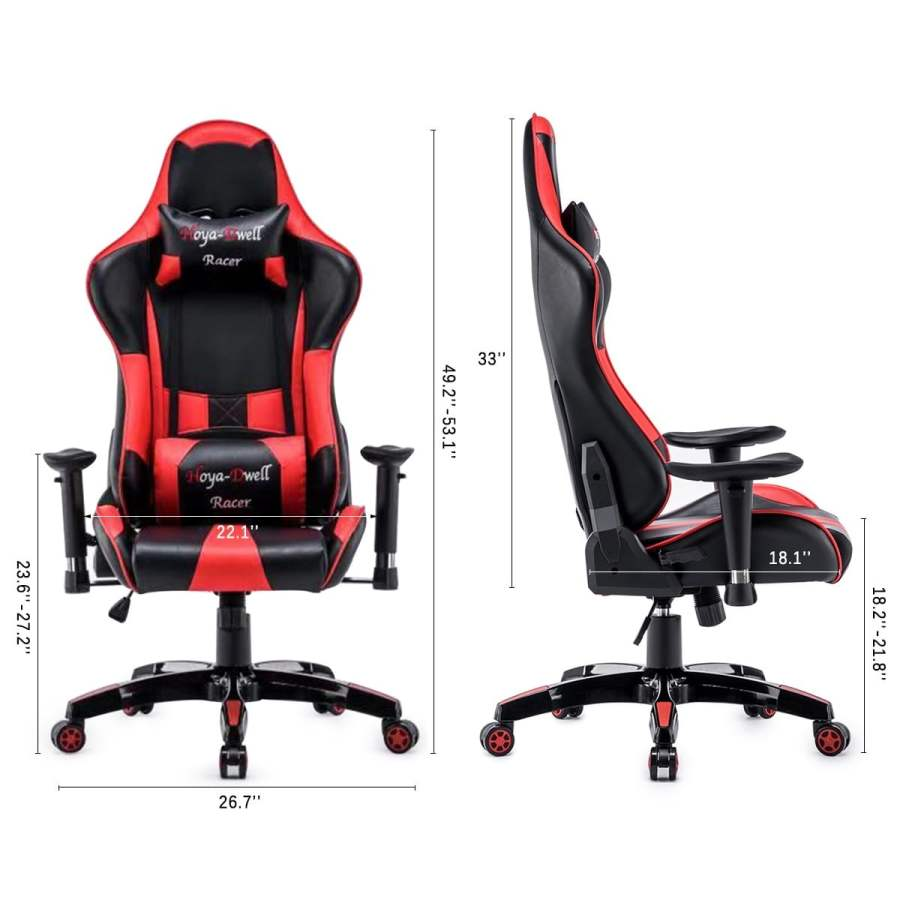 High Back Racing themed Reclining Ergonomic Adjustable Chair with Headrest 42