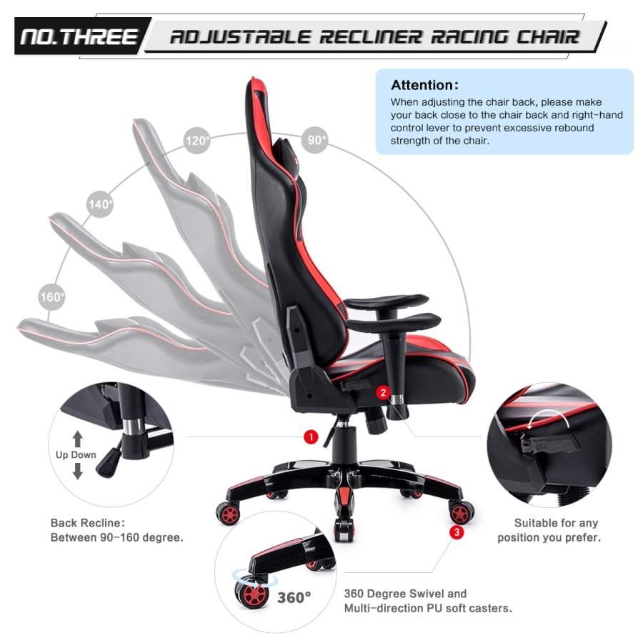 High Back Racing themed Reclining Ergonomic Adjustable Chair with Headrest 46