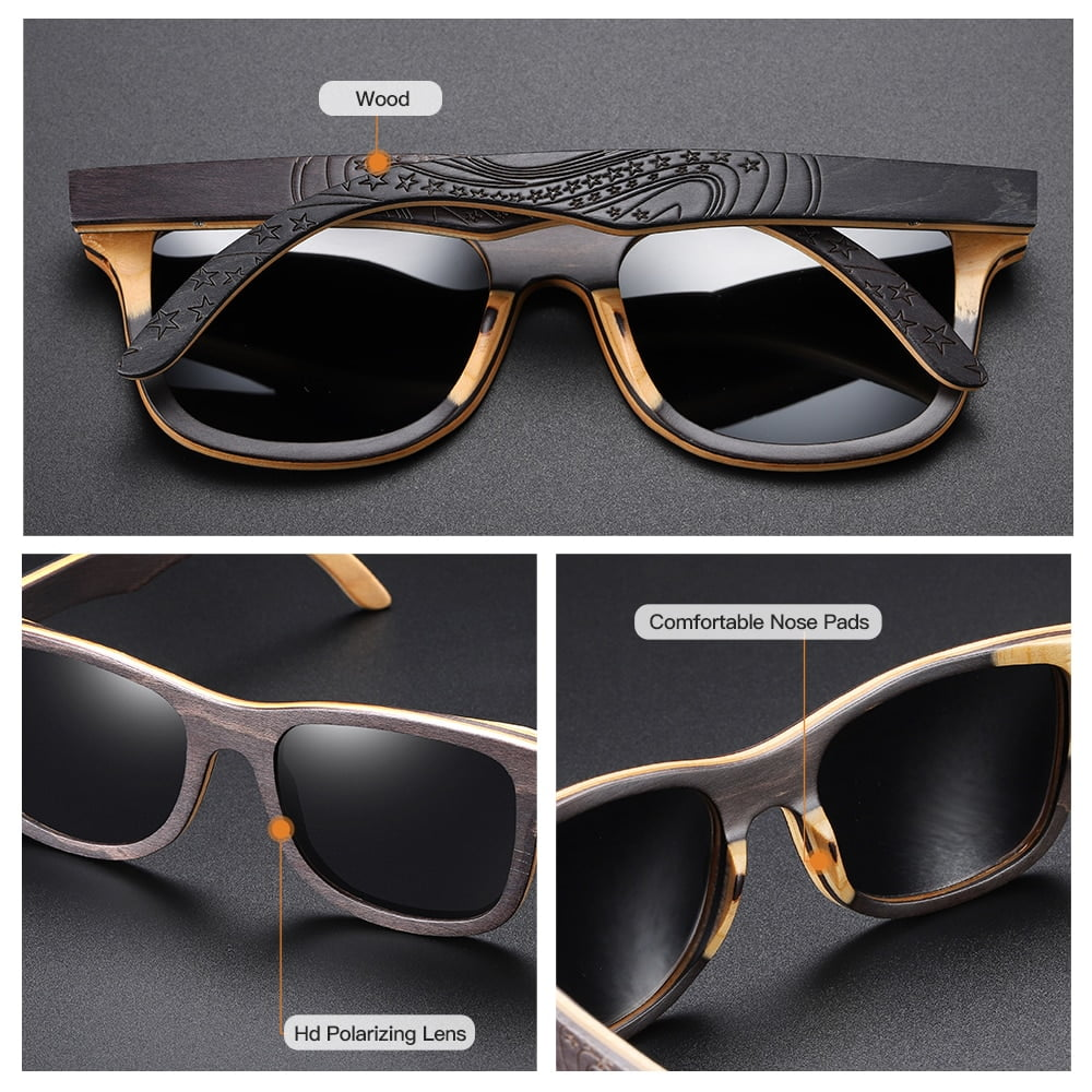 GM Luxury Skateboard Wood Sunglasses Vintage Black Frame Wooden Sunglasses Women Polarized Men's Bamboo Wood Sunglasses S5832 4
