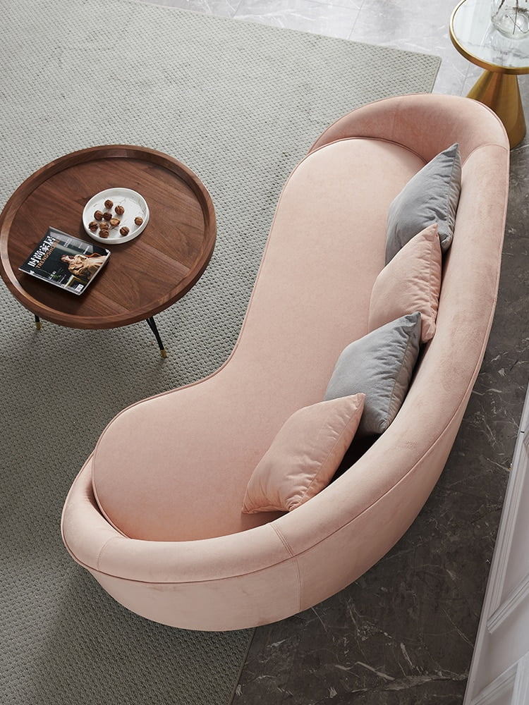 Modern Pink Fabric Sectional Living Room Chair 4