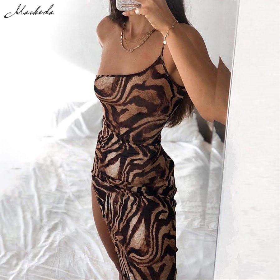 Female One-Shoulder Sling Bodycon Sleveless Split Long Dress  2