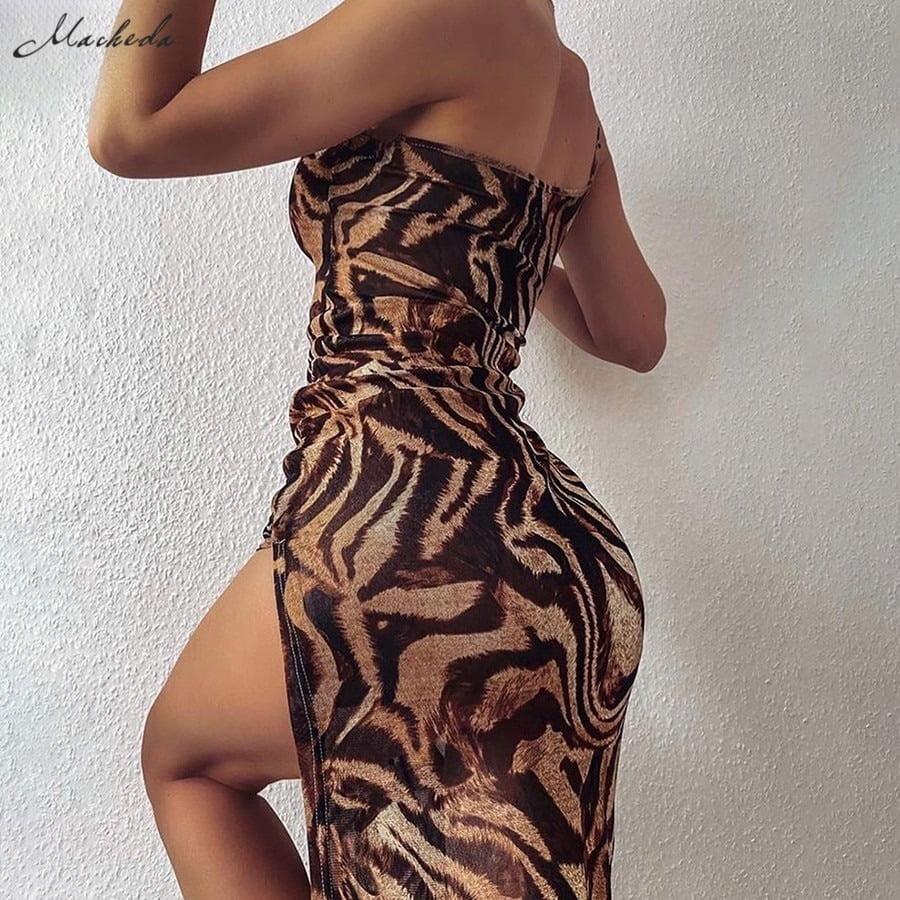 Female One-Shoulder Sling Bodycon Sleveless Split Long Dress  5