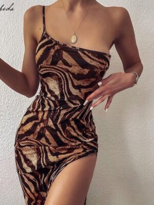 Female One-Shoulder Sling Bodycon Sleveless Split Long Dress  1