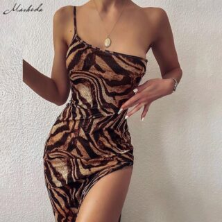 Female One-Shoulder Sling Bodycon Sleveless Split Long Dress  1