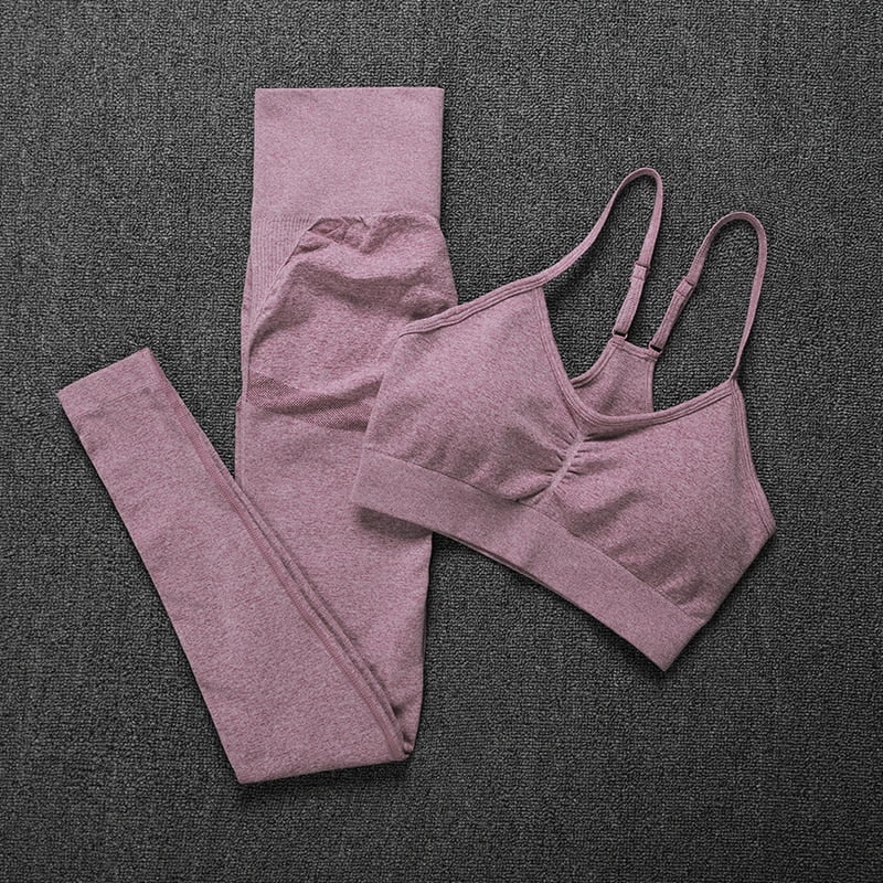 Royles! Women 2 Piece Workout Outfits Sports Bra Seamless Leggings Yoga Gym Activewear Set 29