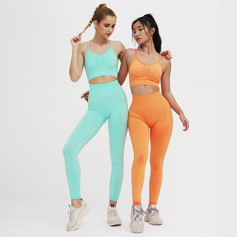 Royles! Women 2 Piece Workout Outfits Sports Bra Seamless Leggings Yoga Gym Activewear Set 26