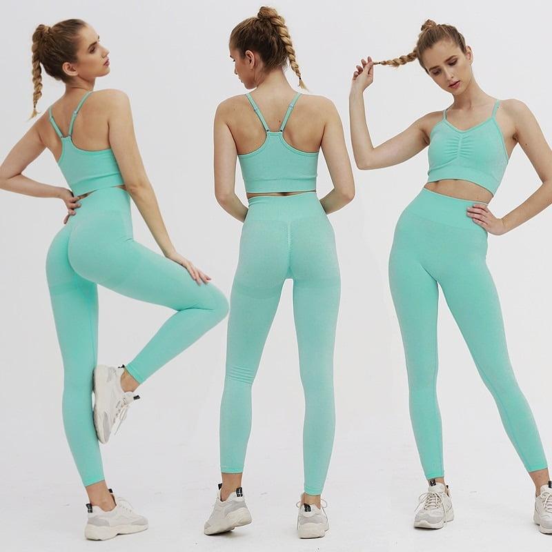 Royles! Women 2 Piece Workout Outfits Sports Bra Seamless Leggings Yoga Gym Activewear Set 23