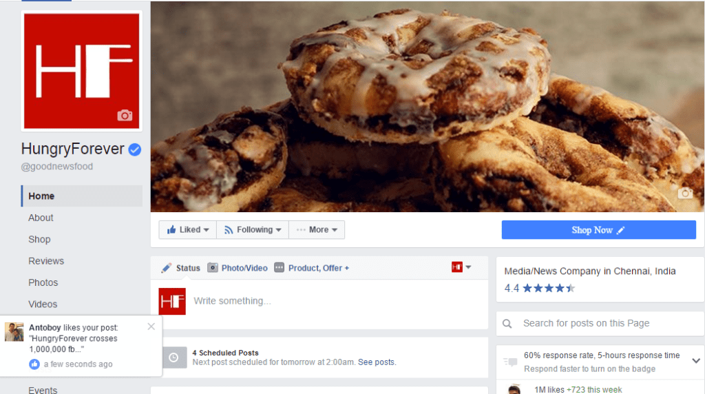 Food blogging platform with a million likes on facebook