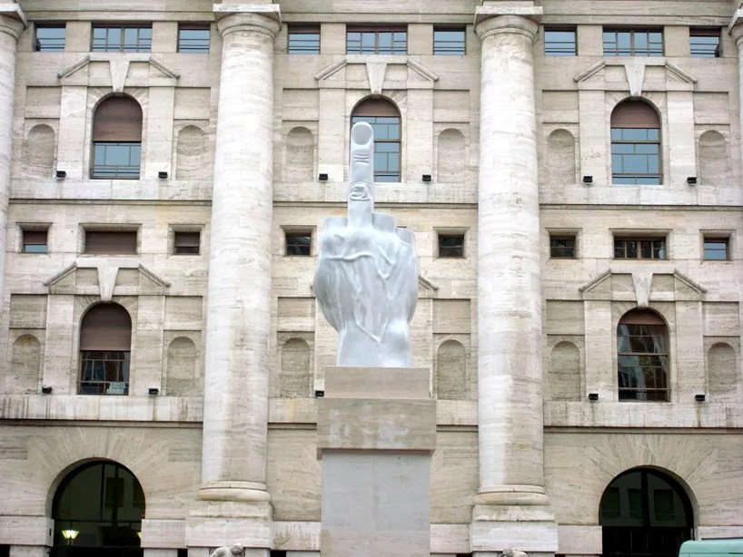 Maurizio Cattelan's middle finger displayed in front of Milan Stock Exchange…