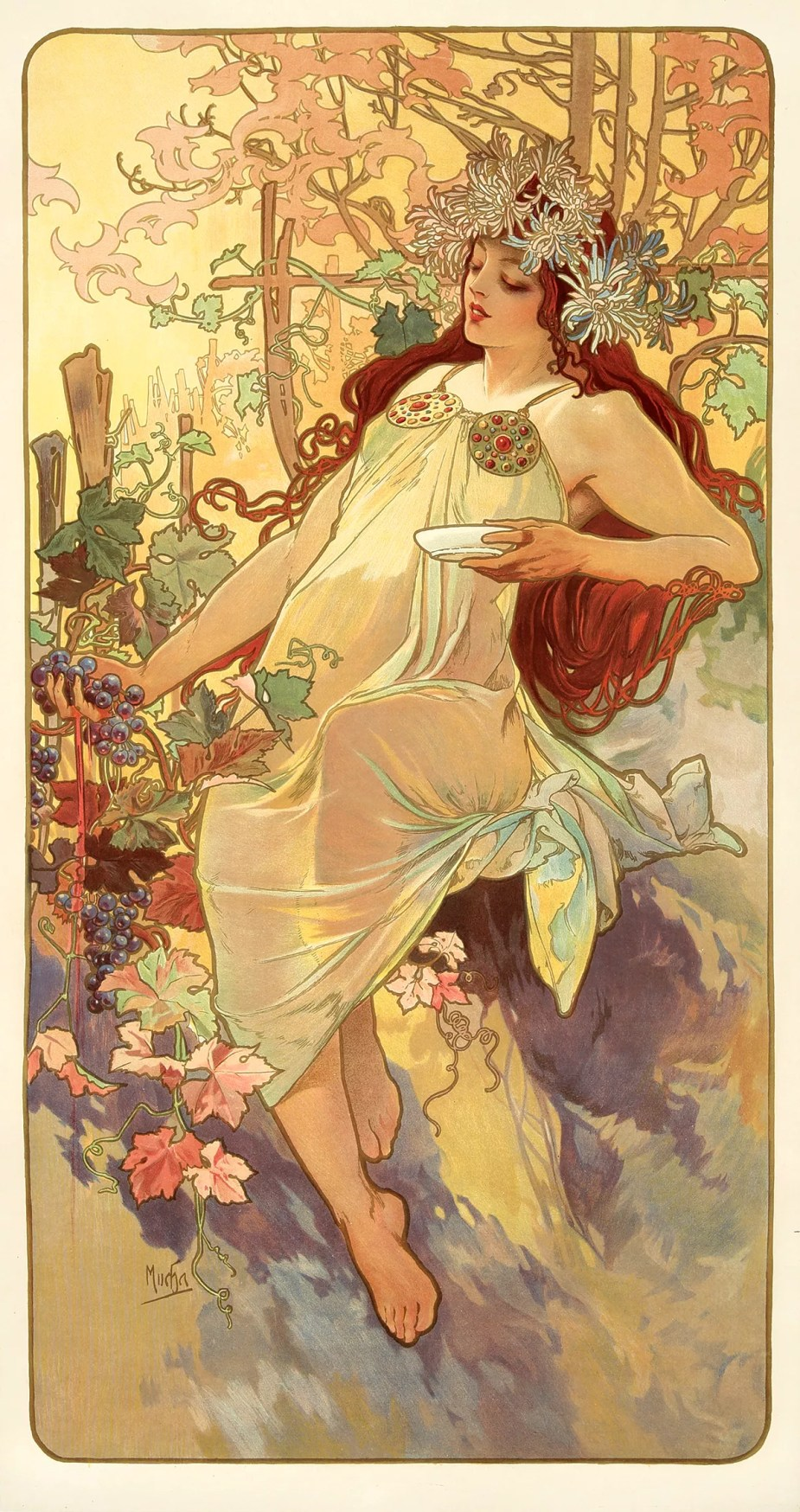 The Seasons - Autumn - By Alfons Mucha 1896