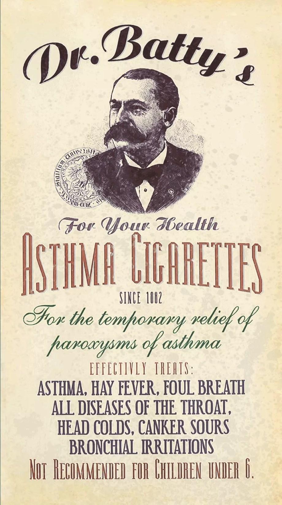 Cocaine, Laudanum, Opium, Methedrine and Asthma Cigarettes naive vintage ads