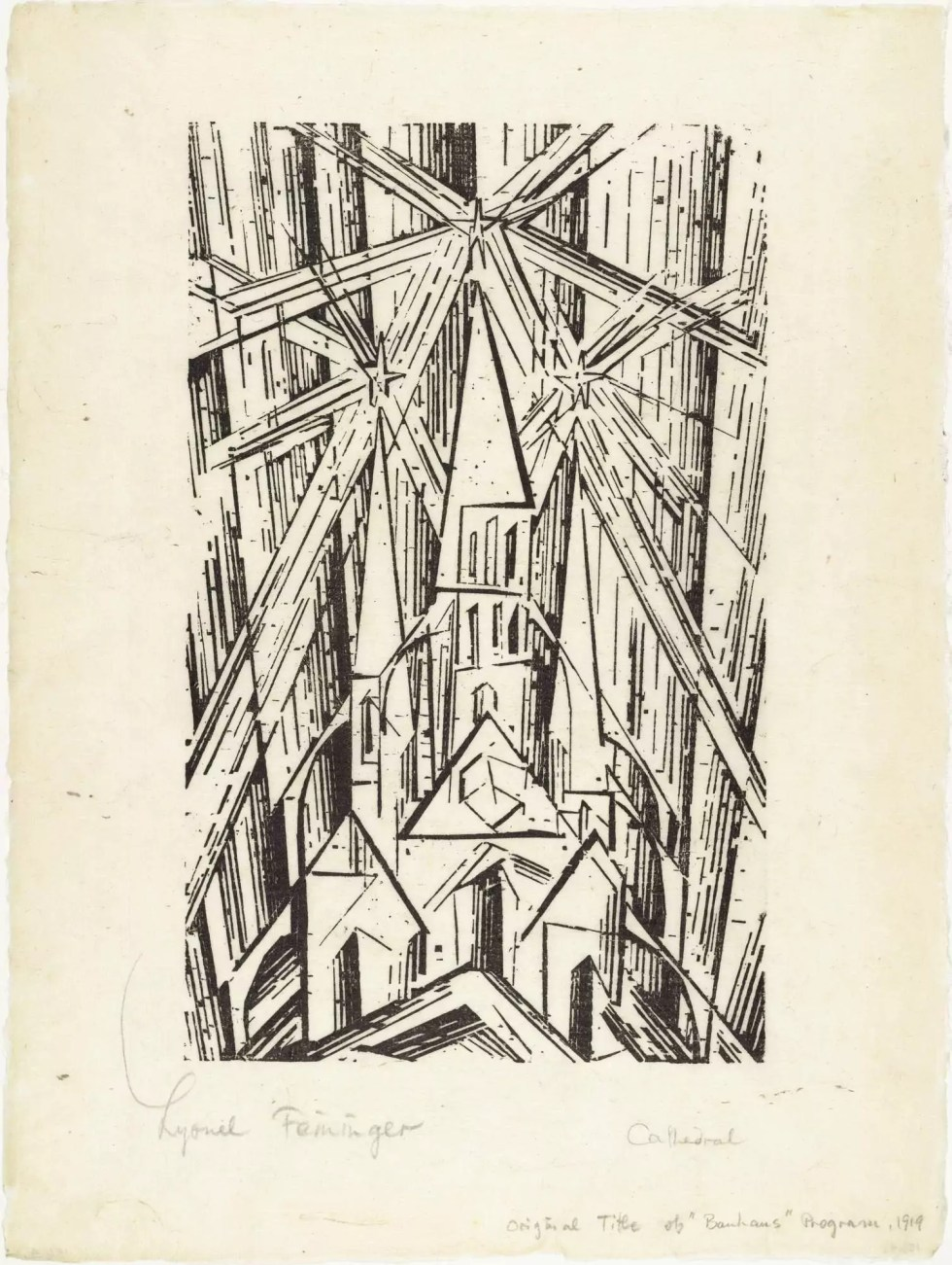 Cathedral | 1919 | Used for the cover of the Bauhaus Manifesto | Woodcut